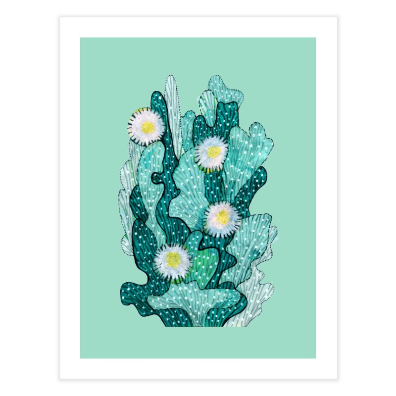 Blooming Cactus, Succulent Flowers, Teal Turquoise Home Fine Art Print by Clipso-Callipso