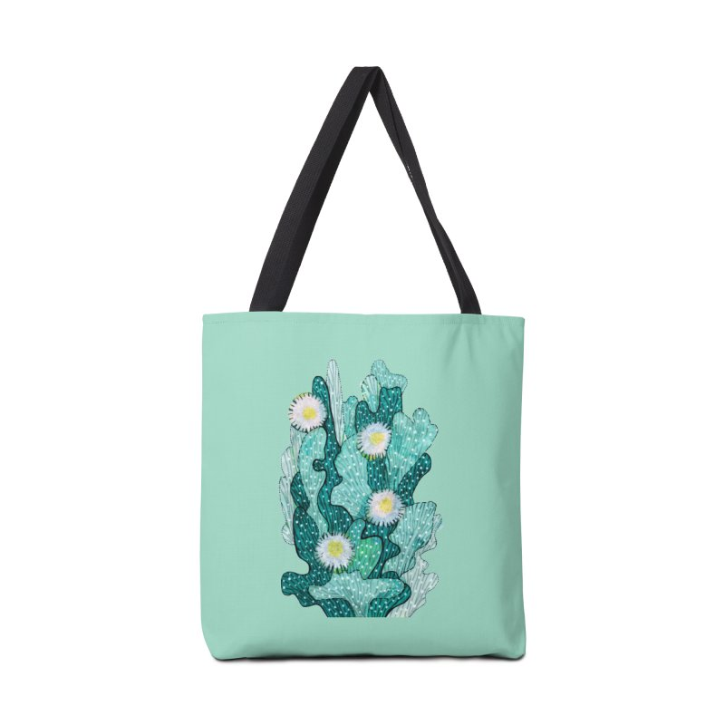 Blooming Cactus, Succulent Flowers, Teal Turquoise Accessories Bag by Clipso-Callipso