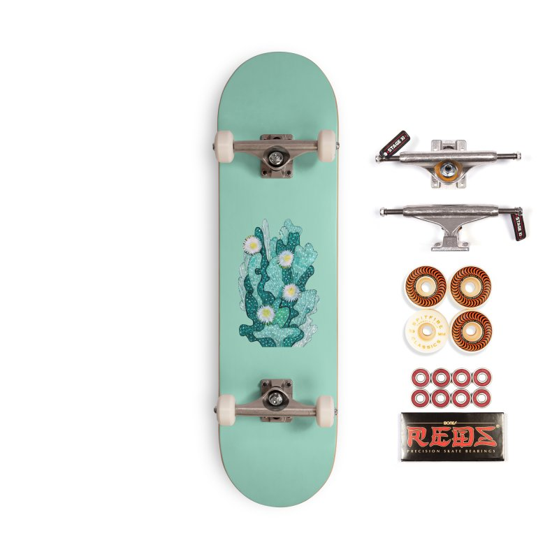 Blooming Cactus, Succulent Flowers, Teal Turquoise Accessories Skateboard by Clipso-Callipso