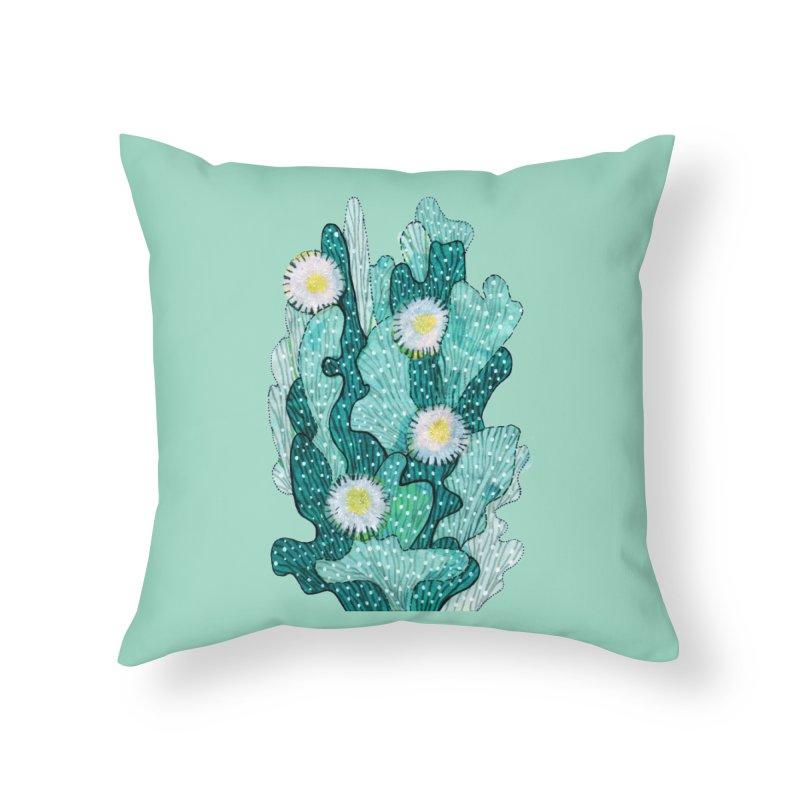 Blooming Cactus, Succulent Flowers, Teal Turquoise Home Throw Pillow by Clipso-Callipso