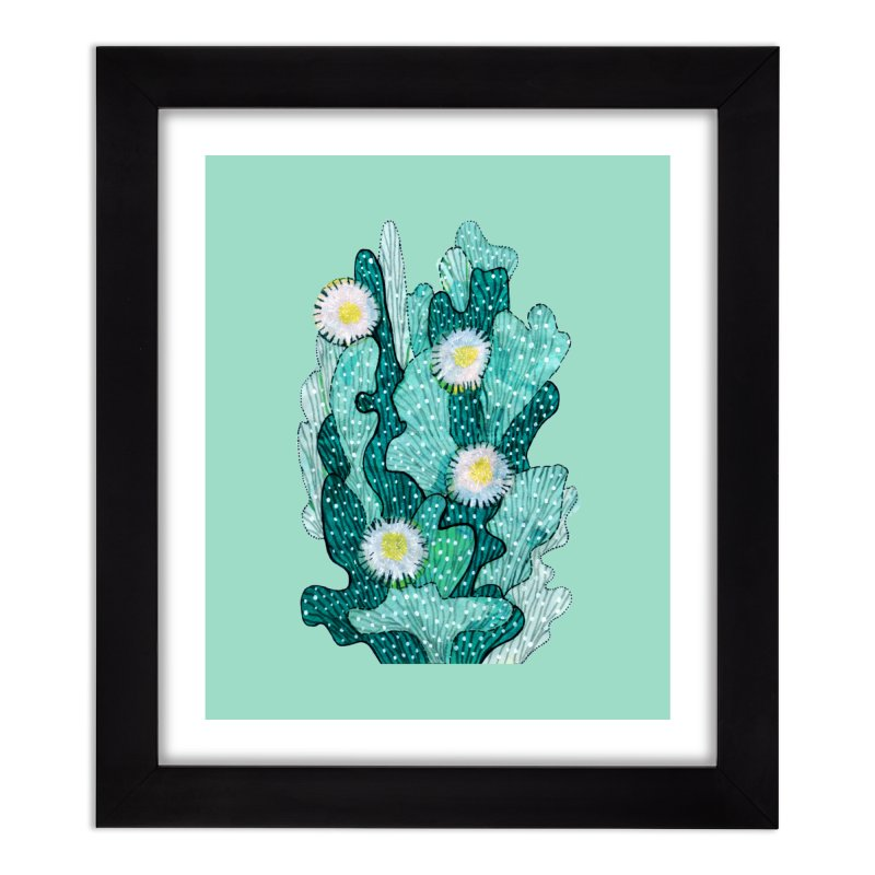 Blooming Cactus, Succulent Flowers, Teal Turquoise Home Framed Fine Art Print by Clipso-Callipso