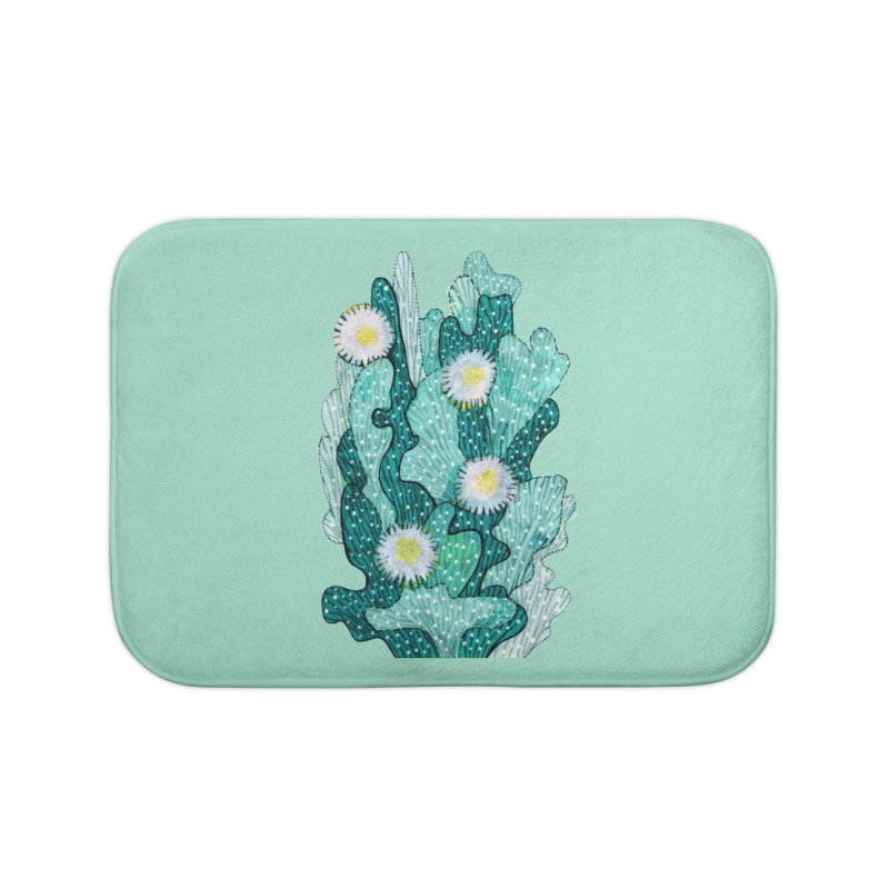 Blooming Cactus, Succulent Flowers, Teal Turquoise Home Bath Mat by Clipso-Callipso