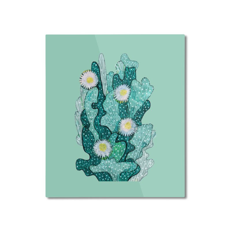 Blooming Cactus, Succulent Flowers, Teal Turquoise Home Mounted Aluminum Print by Clipso-Callipso