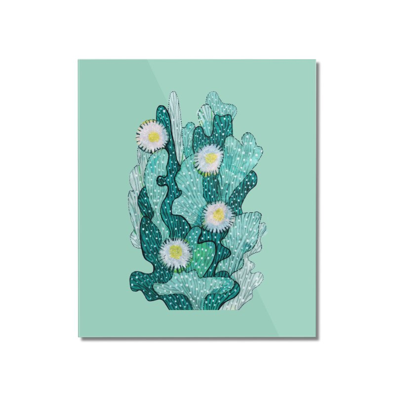 Blooming Cactus, Succulent Flowers, Teal Turquoise Home Mounted Acrylic Print by Clipso-Callipso