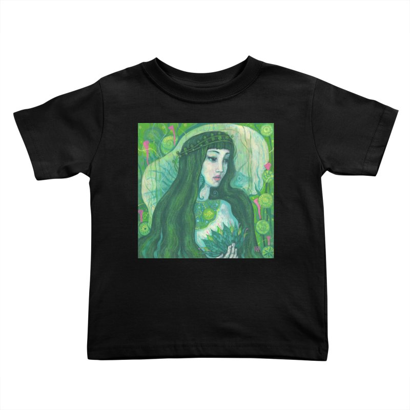 Green Mermaid, Fantasy Art, Surreal Portrait Kids Toddler T-Shirt by Clipso-Callipso