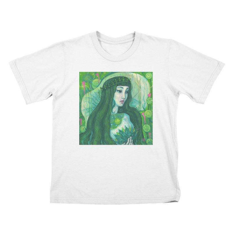 Green Mermaid, Fantasy Art, Surreal Portrait Kids T-Shirt by Clipso-Callipso