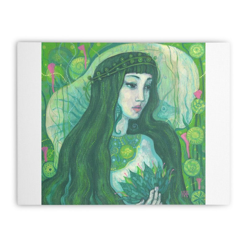 Green Mermaid, Fantasy Art, Surreal Portrait Home Stretched Canvas by Clipso-Callipso