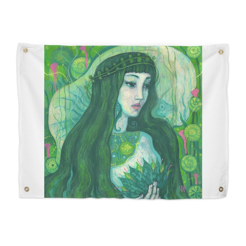 Green Mermaid, Fantasy Art, Surreal Portrait Home Tapestry by Clipso-Callipso