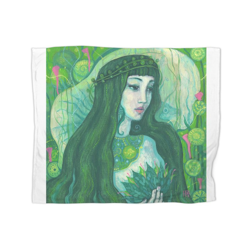 Green Mermaid, Fantasy Art, Surreal Portrait Home Blanket by Clipso-Callipso