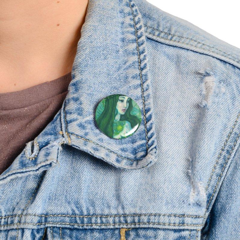 Green Mermaid, Fantasy Art, Surreal Portrait Accessories Button by Clipso-Callipso