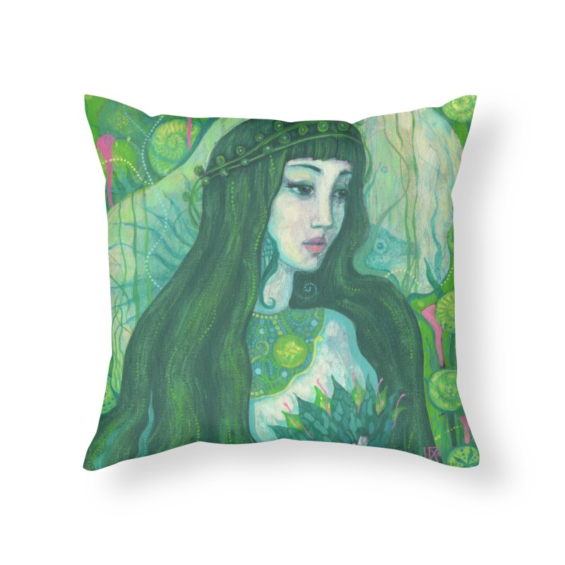 Green Mermaid, Fantasy Art, Surreal Portrait Home Throw Pillow by Clipso-Callipso