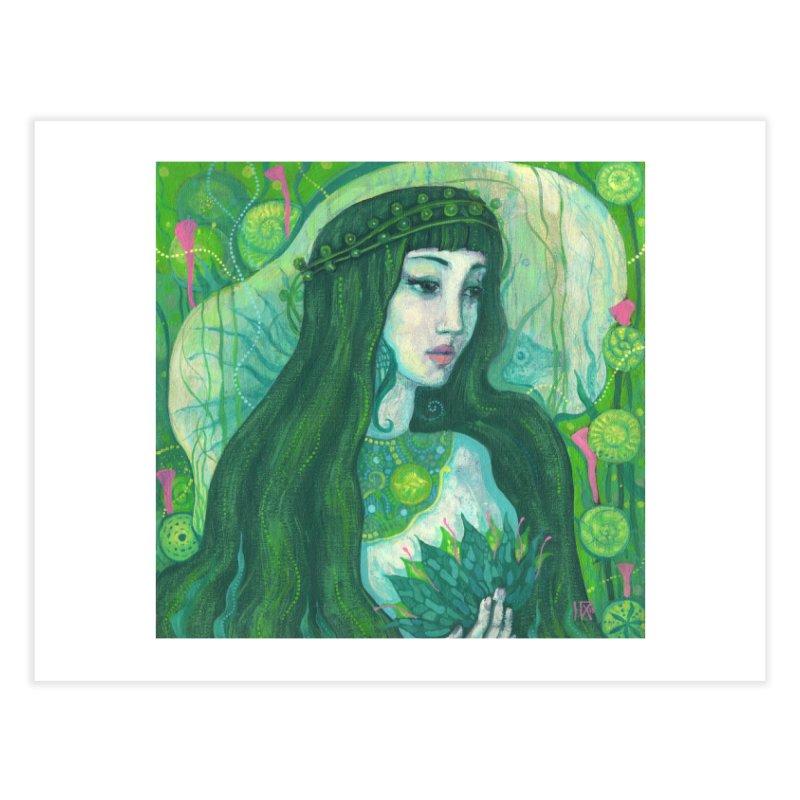 Green Mermaid, Fantasy Art, Surreal Portrait Home Fine Art Print by Clipso-Callipso