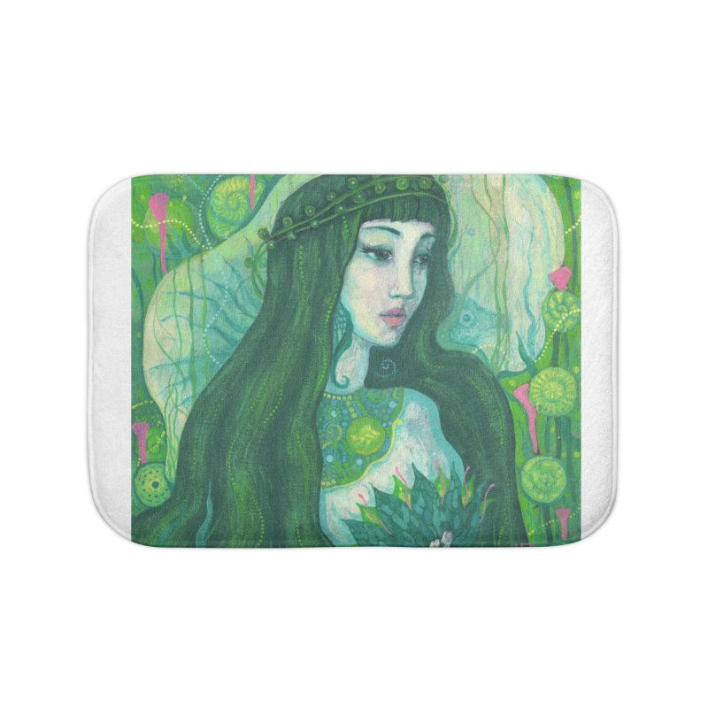 Green Mermaid, Fantasy Art, Surreal Portrait Home Bath Mat by Clipso-Callipso