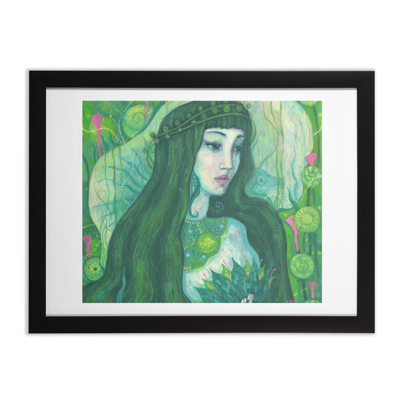 Green Mermaid, Fantasy Art, Surreal Portrait Home Framed Fine Art Print by Clipso-Callipso