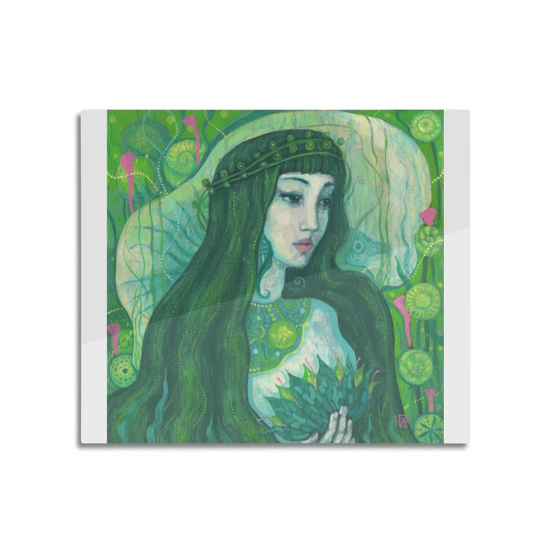 Green Mermaid, Fantasy Art, Surreal Portrait Home Mounted Aluminum Print by Clipso-Callipso