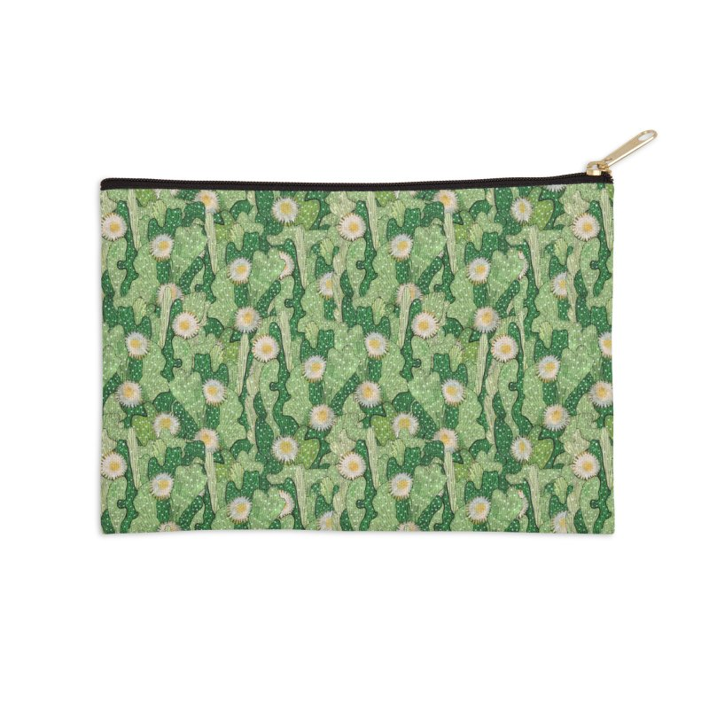 Cacti Camo, Blooming Cactus, Succulent Floral Pattern Accessories Zip Pouch by Clipso-Callipso