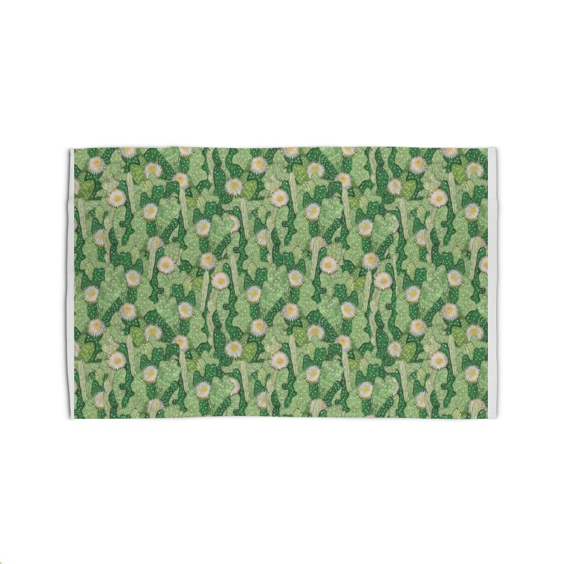 Cacti Camo, Blooming Cactus, Succulent Floral Pattern Home Rug by Clipso-Callipso