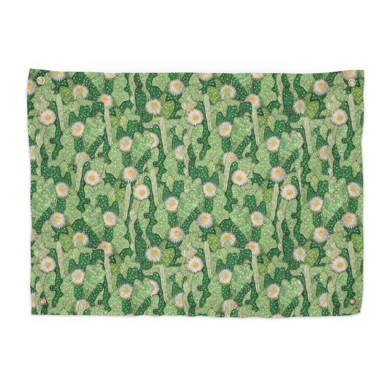 Cacti Camo, Blooming Cactus, Succulent Floral Pattern Home Tapestry by Clipso-Callipso