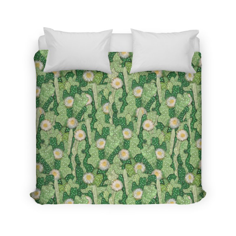 Cacti Camo, Blooming Cactus, Succulent Floral Pattern Home Duvet by Clipso-Callipso