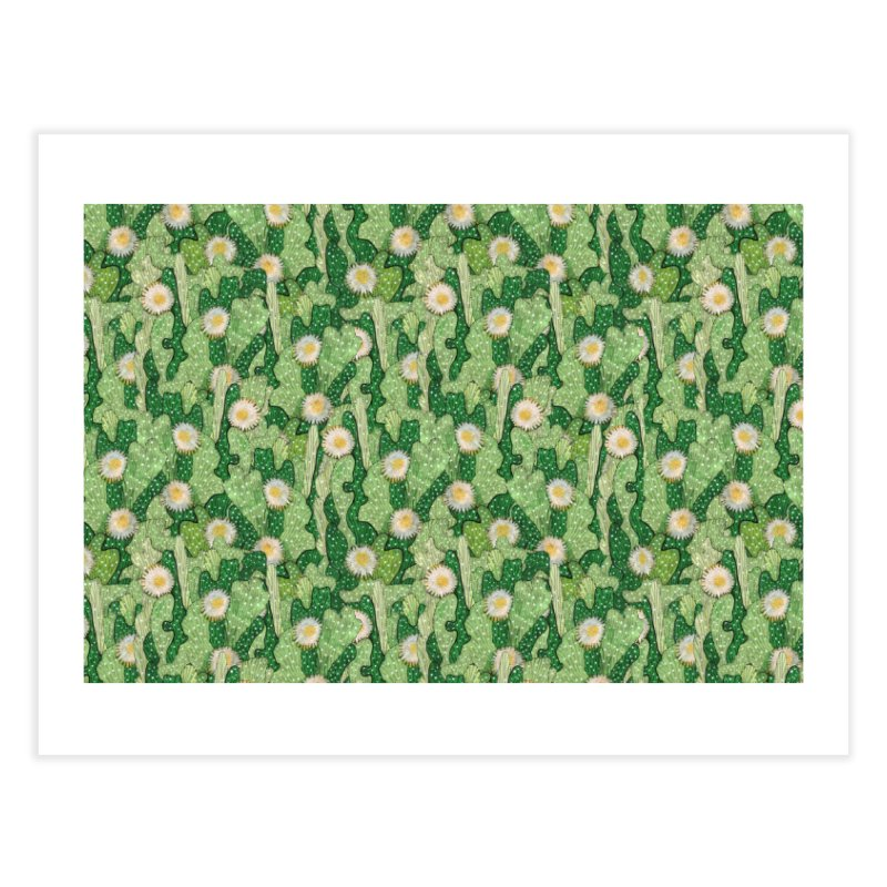Cacti Camo, Blooming Cactus, Succulent Floral Pattern Home Fine Art Print by Clipso-Callipso