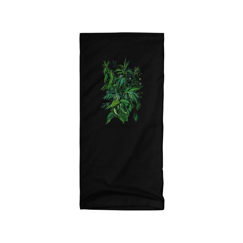 Green & Black, Summer Plants, Floral Art Accessories Neck Gaiter by Clipso-Callipso