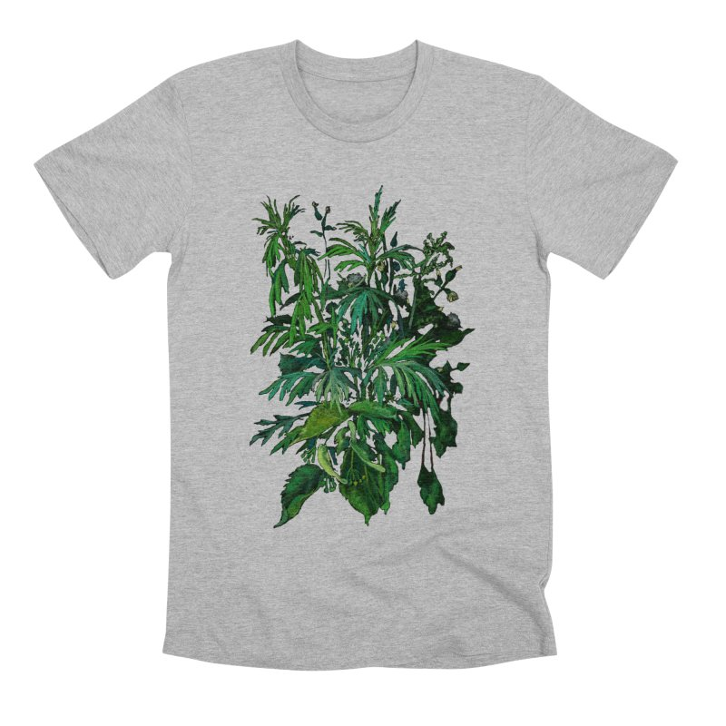 Green & Black, Summer Plants, Floral Art Men's T-Shirt by Clipso-Callipso