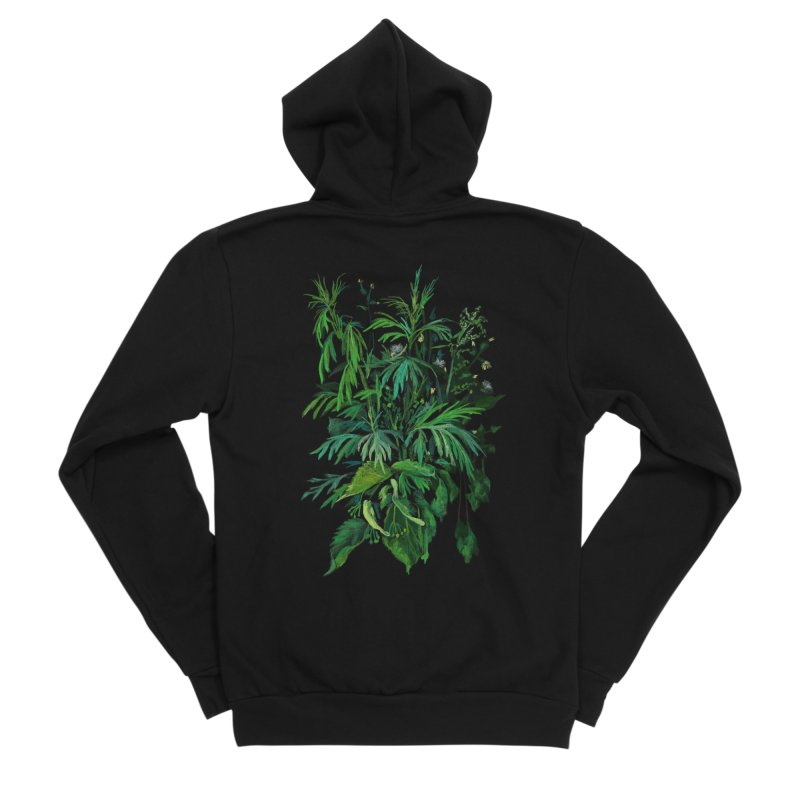 Green & Black, Summer Plants, Floral Art Men's Zip-Up Hoody by Clipso-Callipso