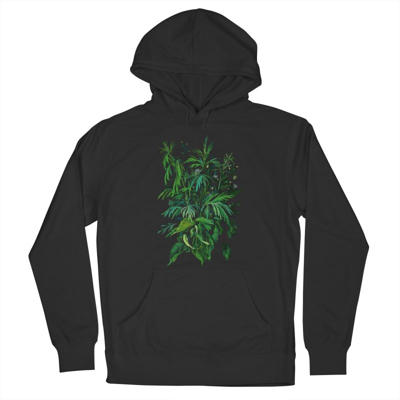 Green & Black, Summer Plants, Floral Art Men's Pullover Hoody by Clipso-Callipso