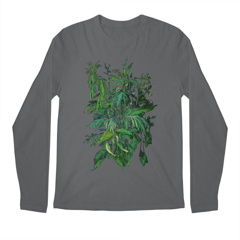 Green & Black, Summer Plants, Floral Art Men's Longsleeve T-Shirt by Clipso-Callipso