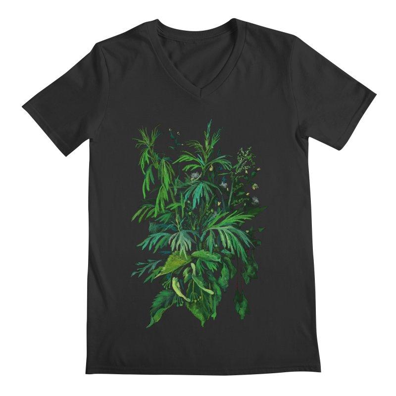 Green & Black, Summer Plants, Floral Art Men's V-Neck by Clipso-Callipso