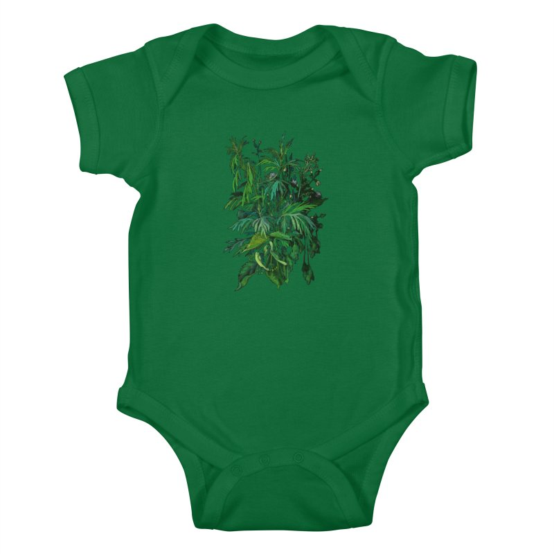 Green & Black, Summer Plants, Floral Art Kids Baby Bodysuit by Clipso-Callipso