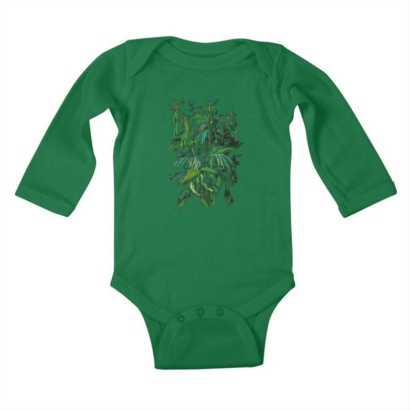 Green & Black, Summer Plants, Floral Art Kids Baby Longsleeve Bodysuit by Clipso-Callipso