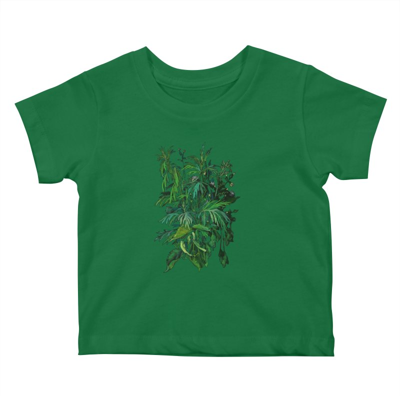 Green & Black, Summer Plants, Floral Art Kids Baby T-Shirt by Clipso-Callipso