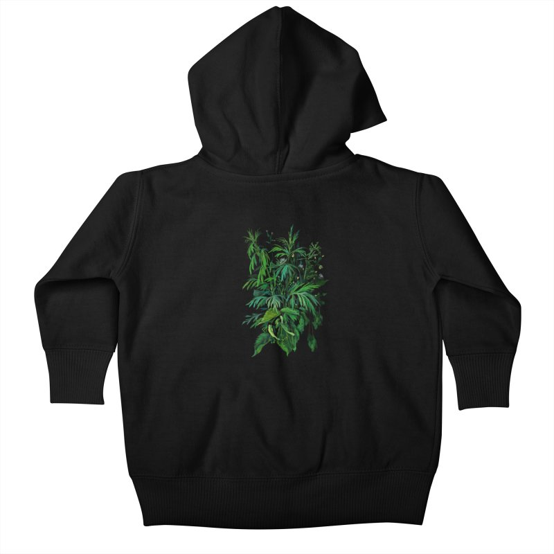 Green & Black, Summer Plants, Floral Art Kids Baby Zip-Up Hoody by Clipso-Callipso