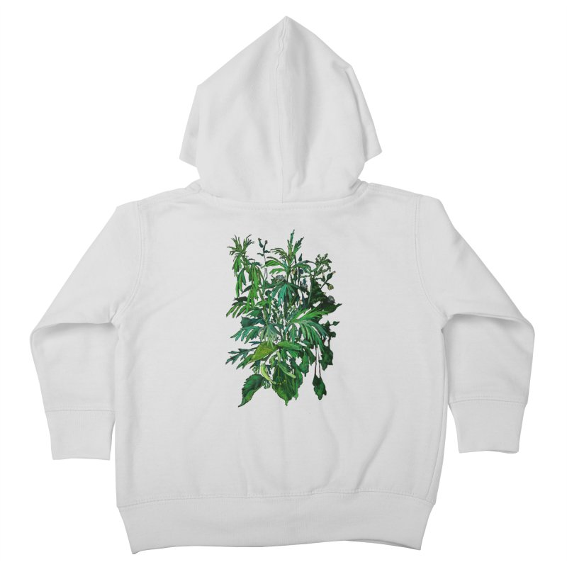 Green & Black, Summer Plants, Floral Art Kids Toddler Zip-Up Hoody by Clipso-Callipso