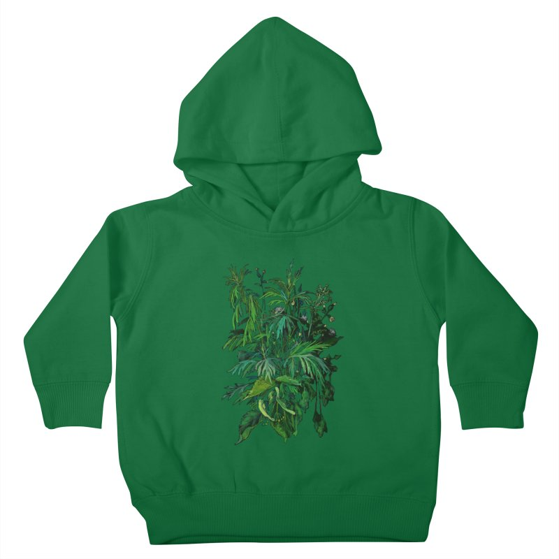 Green & Black, Summer Plants, Floral Art Kids Toddler Pullover Hoody by Clipso-Callipso