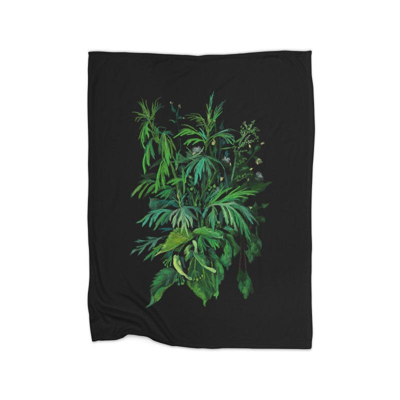 Green & Black, Summer Plants, Floral Art Home Blanket by Clipso-Callipso