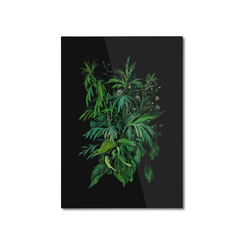 Green & Black, Summer Plants, Floral Art Home Mounted Aluminum Print by Clipso-Callipso