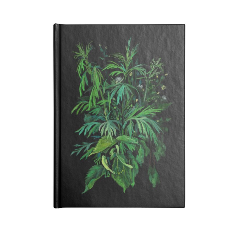 Green & Black, Summer Plants, Floral Art Accessories Notebook by Clipso-Callipso