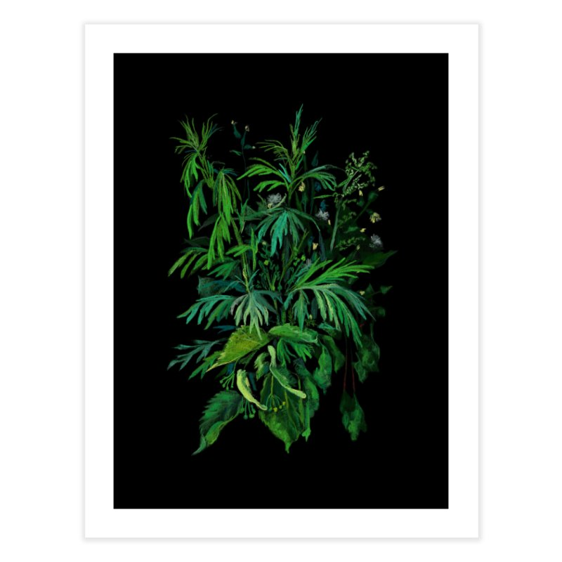 Green & Black, Summer Plants, Floral Art Home Fine Art Print by Clipso-Callipso