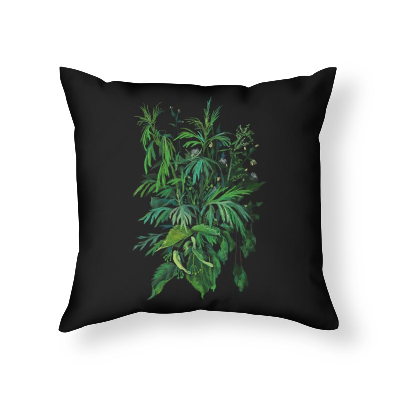 Green & Black, Summer Plants, Floral Art Home Throw Pillow by Clipso-Callipso