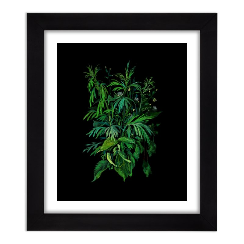 Green & Black, Summer Plants, Floral Art Home Framed Fine Art Print by Clipso-Callipso