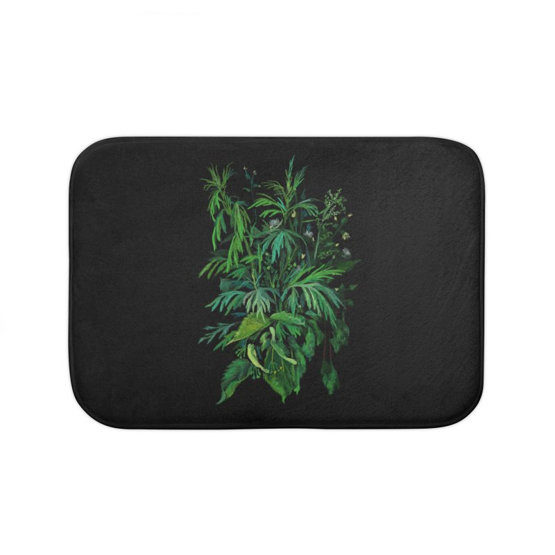 Green & Black, Summer Plants, Floral Art Home Bath Mat by Clipso-Callipso