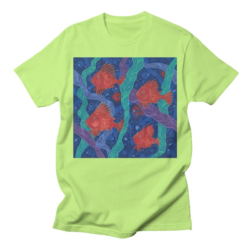 Red Fish, Seaweed, Sea Ocean Animals Underwater World Men's T-Shirt by Clipso-Callipso
