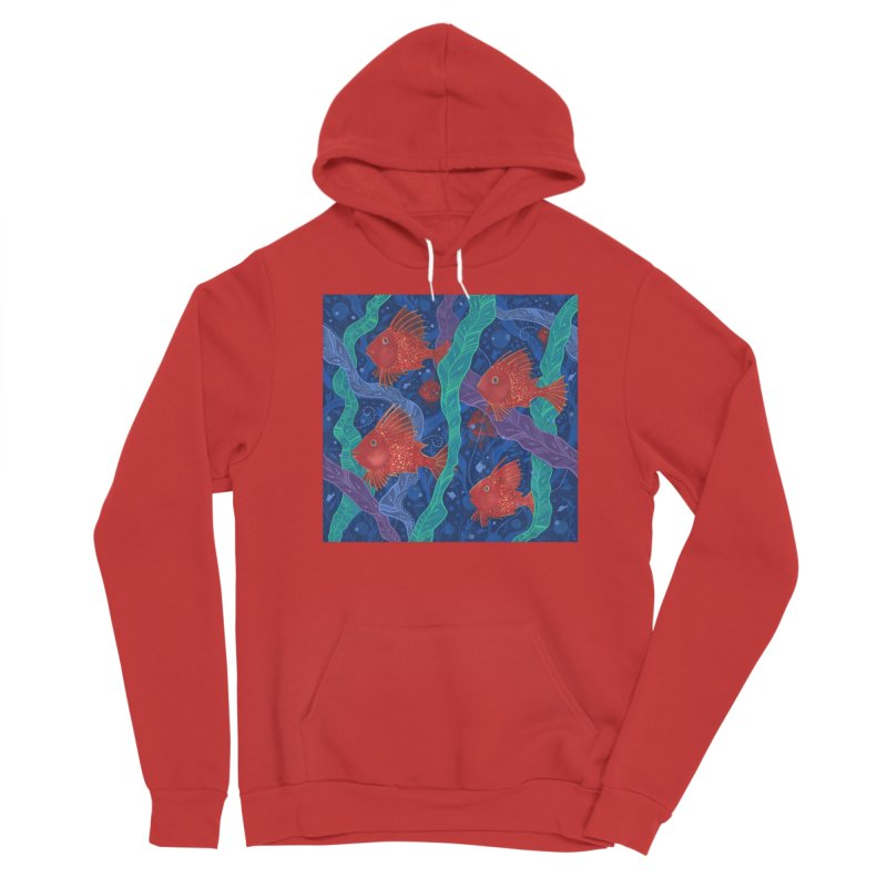 Red Fish, Seaweed, Sea Ocean Animals Underwater World Women's Pullover Hoody by Clipso-Callipso