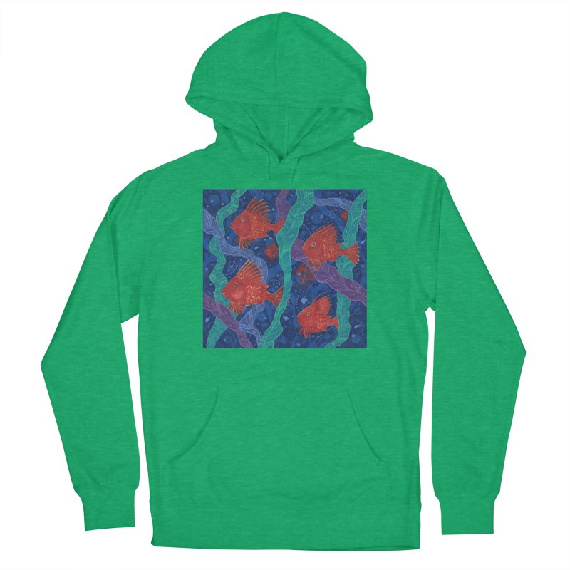 Red Fish, Seaweed, Sea Ocean Animals Underwater World Men's Pullover Hoody by Clipso-Callipso