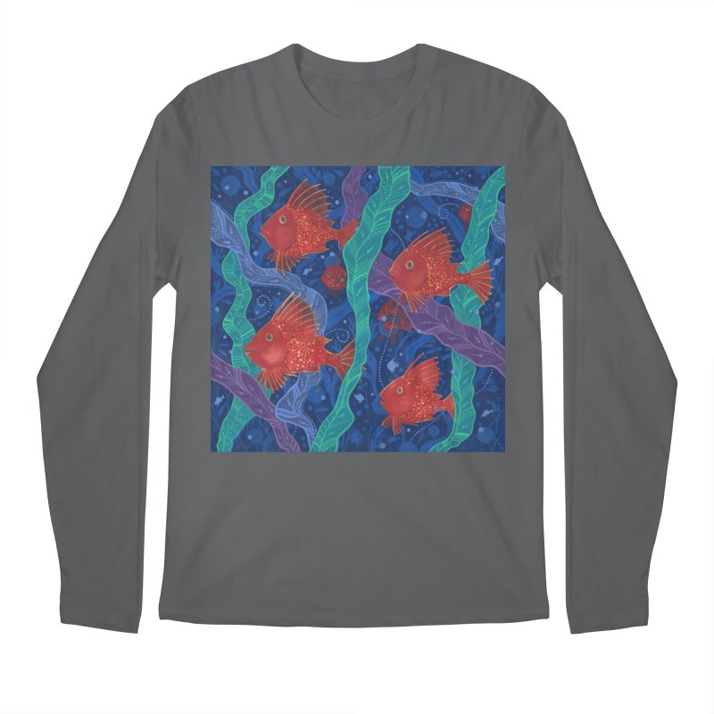 Red Fish, Seaweed, Sea Ocean Animals Underwater World Men's Longsleeve T-Shirt by Clipso-Callipso