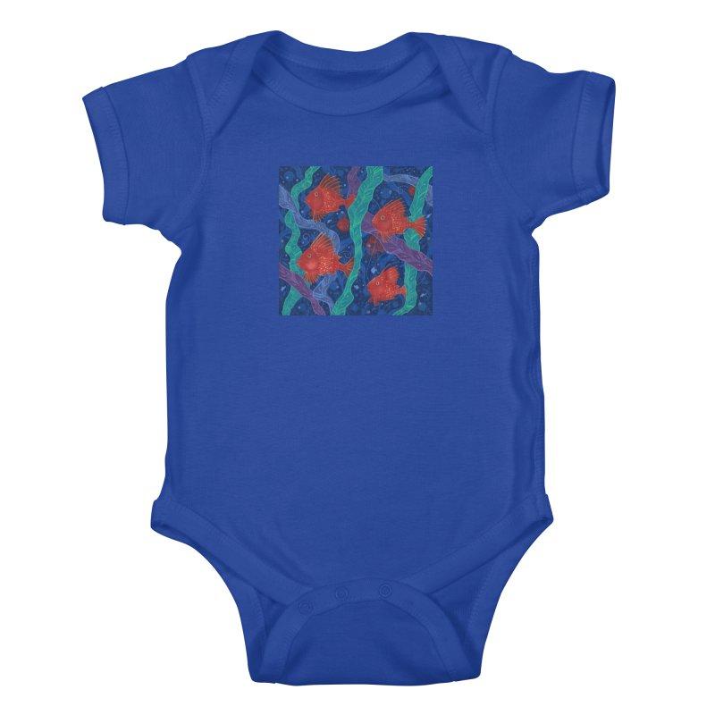 Red Fish, Seaweed, Sea Ocean Animals Underwater World Kids Baby Bodysuit by Clipso-Callipso