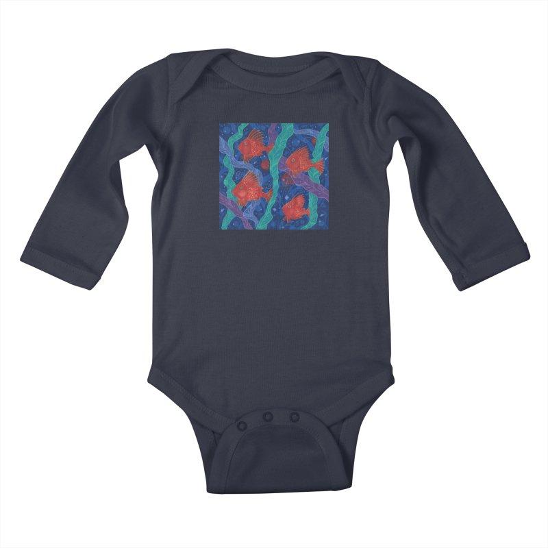 Red Fish, Seaweed, Sea Ocean Animals Underwater World Kids Baby Longsleeve Bodysuit by Clipso-Callipso