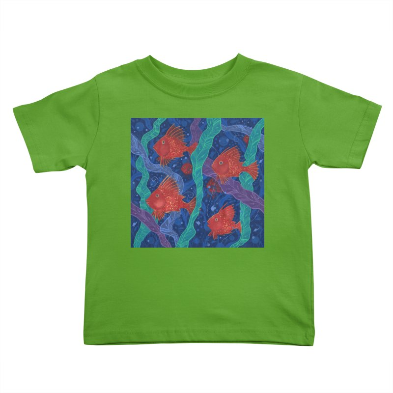 Red Fish, Seaweed, Sea Ocean Animals Underwater World Kids Toddler T-Shirt by Clipso-Callipso